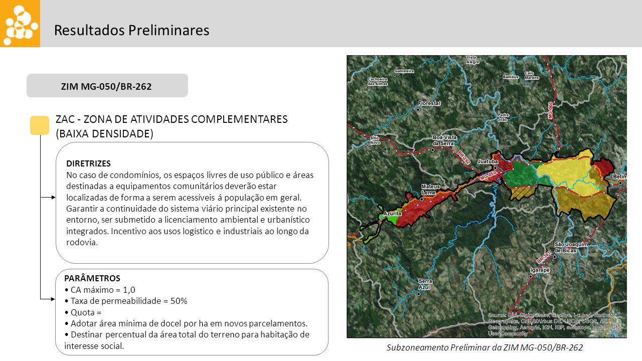 ZIM CENTRALIDADE OESTE Resultados Preliminares ZAC - ZONA DE ATIVIDADES COMPLEMENTARES (BAIXA DENSIDADE) DIRETRIZES No caso de condomínios, os espaços