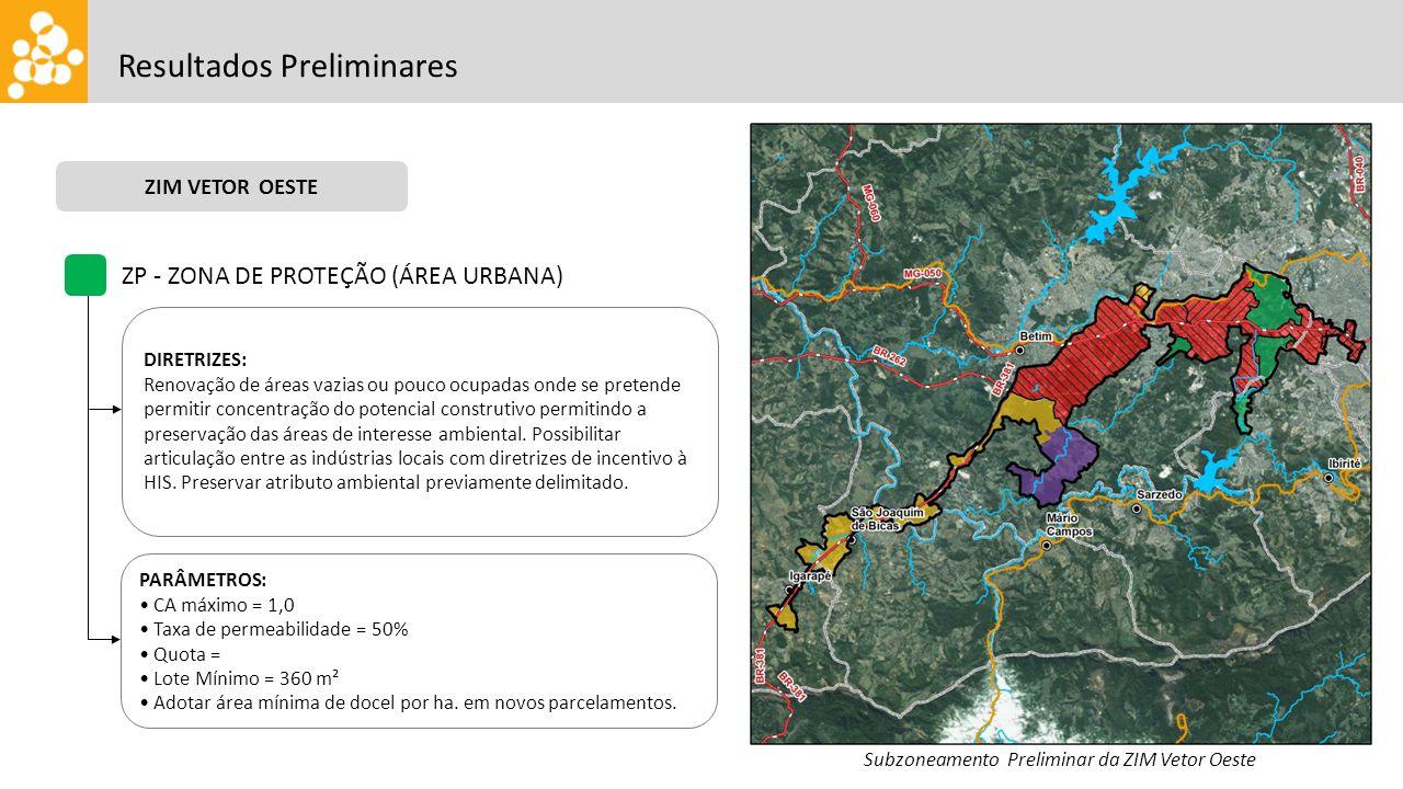 Resultados Preliminares ZIM VETOR OESTE Subzoneamento Preliminar da ZIM Vetor Oeste ZP - ZONA DE PROTEÇÃO (ÁREA URBANA) DIRETRIZES: Renovação de áreas
