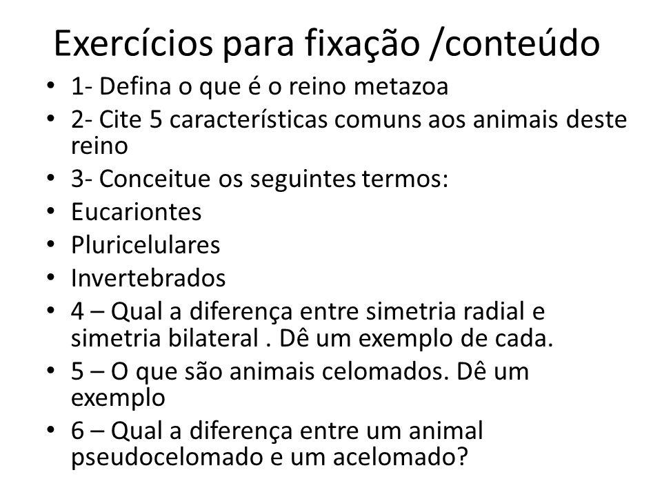 Exercícios para fixação /conteúdo 1- Defina o que é o reino metazoa 2- Cite 5 características comuns aos animais deste reino 3- Conceitue os seguintes