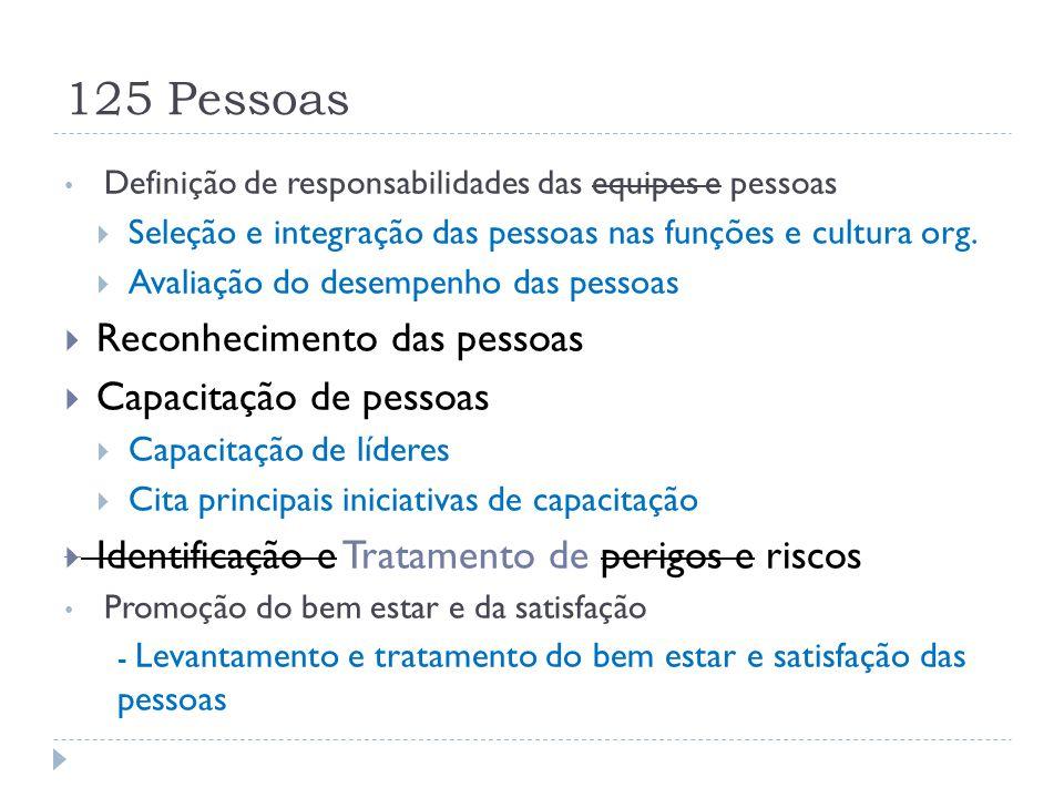 125 Pessoas Definição de responsabilidades das equipes e pessoas  Seleção e integração das pessoas nas funções e cultura org.  Avaliação do desempen