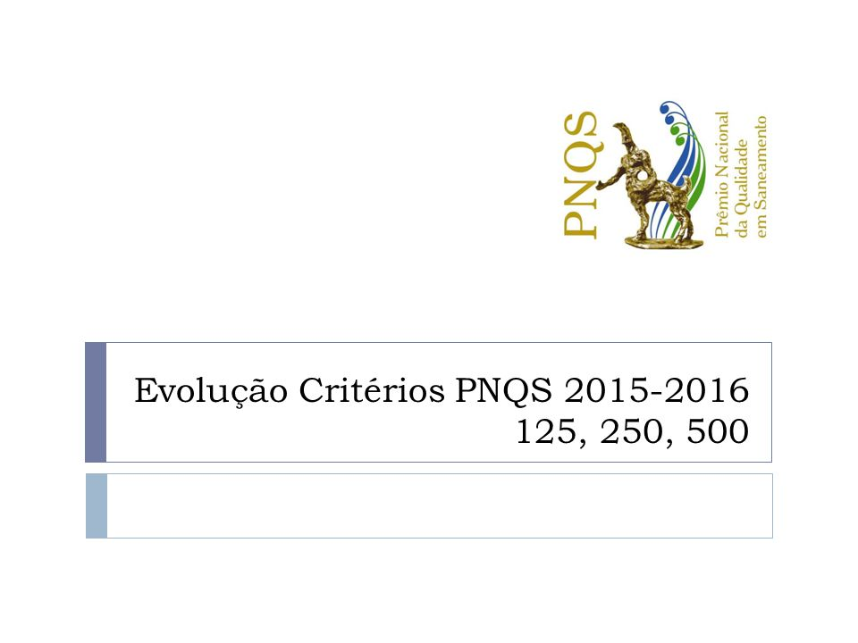 Evolução Critérios PNQS 2015-2016 125, 250, 500