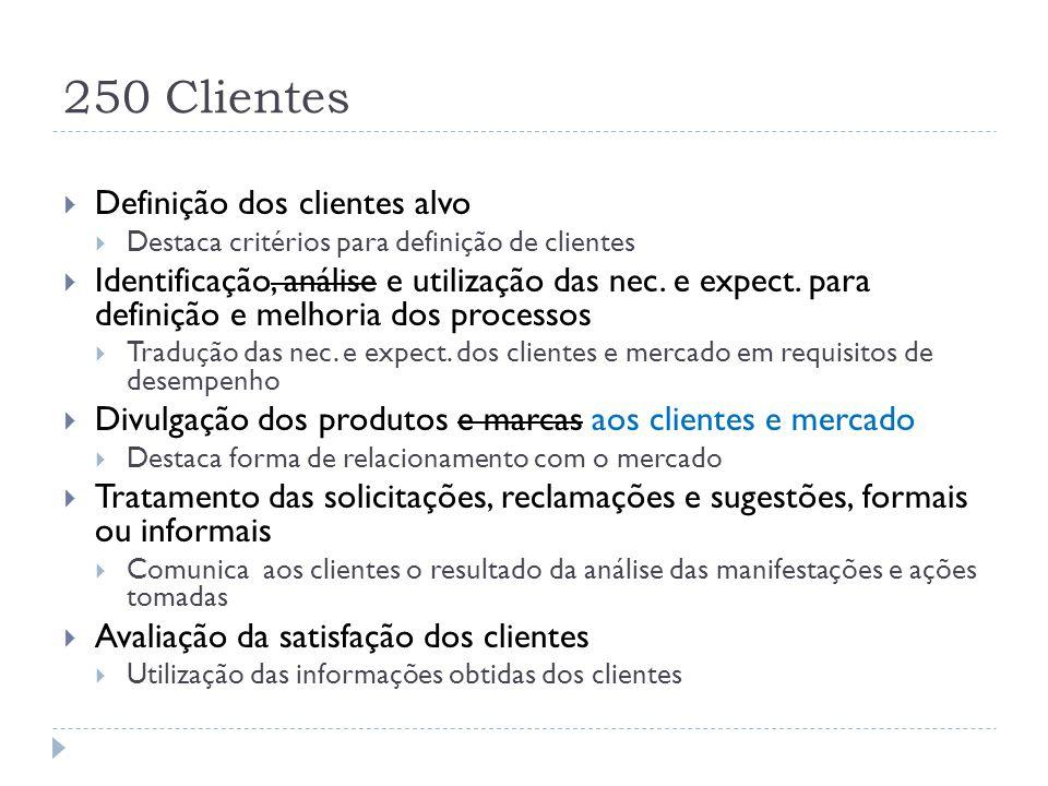 250 Clientes  Definição dos clientes alvo  Destaca critérios para definição de clientes  Identificação, análise e utilização das nec. e expect. par