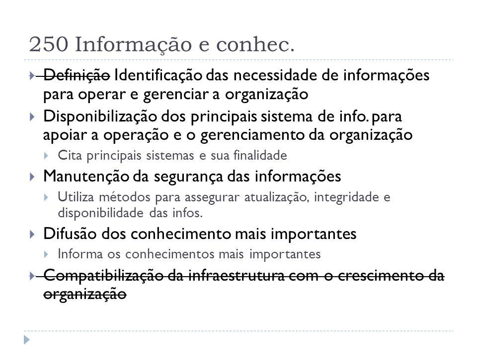 250 Informação e conhec.  Definição Identificação das necessidade de informações para operar e gerenciar a organização  Disponibilização dos princip