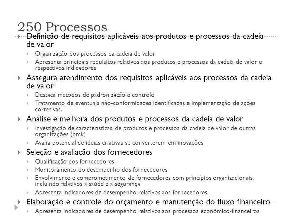 250 Processos  Definição de requisitos aplicáveis aos produtos e processos da cadeia de valor  Organização dos processos da cadeia de valor  Aprese
