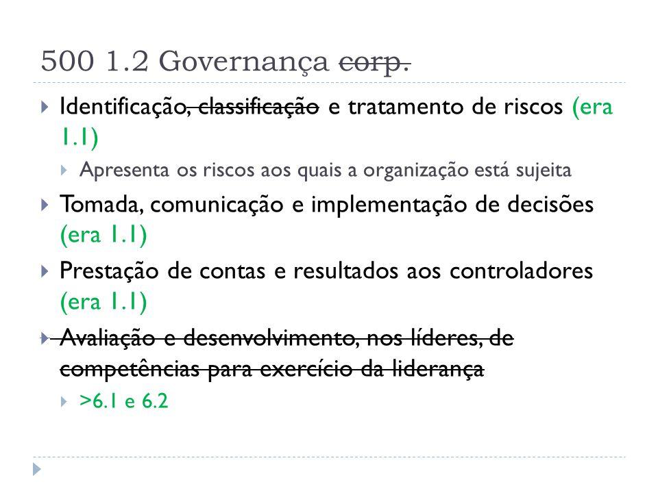 500 1.2 Governança corp.  Identificação, classificação e tratamento de riscos (era 1.1)  Apresenta os riscos aos quais a organização está sujeita 