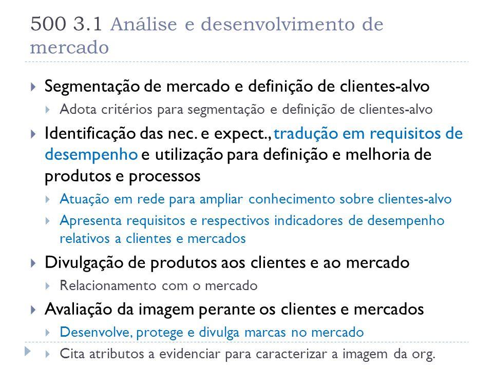 500 3.1 Análise e desenvolvimento de mercado  Segmentação de mercado e definição de clientes-alvo  Adota critérios para segmentação e definição de c