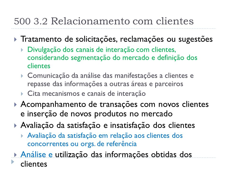 500 3.2 Relacionamento com clientes  Tratamento de solicitações, reclamações ou sugestões  Divulgação dos canais de interação com clientes, consider