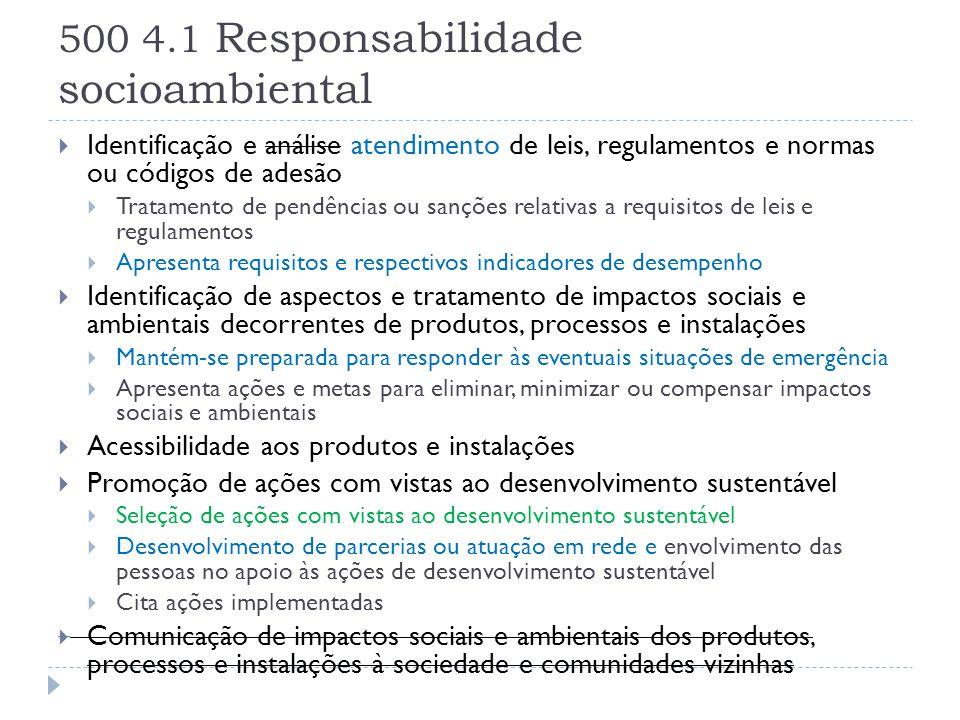 500 4.1 Responsabilidade socioambiental  Identificação e análise atendimento de leis, regulamentos e normas ou códigos de adesão  Tratamento de pend