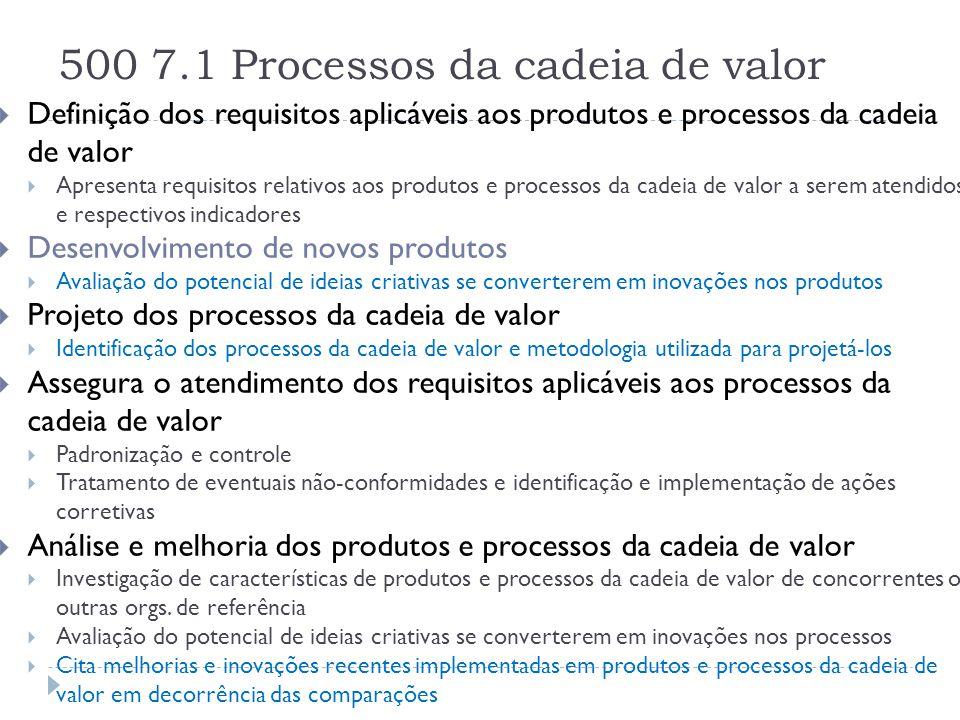 500 7.1 Processos da cadeia de valor  Definição dos requisitos aplicáveis aos produtos e processos da cadeia de valor  Apresenta requisitos relativo