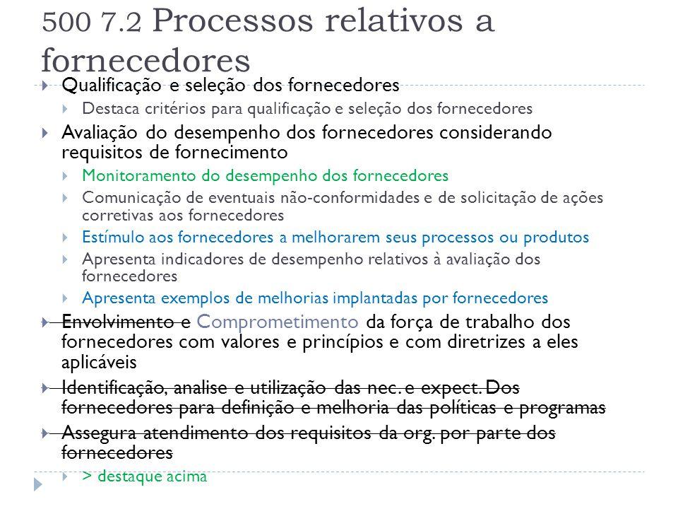 500 7.2 Processos relativos a fornecedores  Qualificação e seleção dos fornecedores  Destaca critérios para qualificação e seleção dos fornecedores