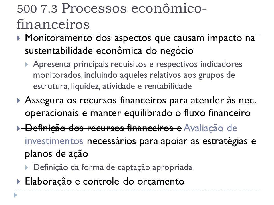 500 7.3 Processos econômico- financeiros  Monitoramento dos aspectos que causam impacto na sustentabilidade econômica do negócio  Apresenta principa