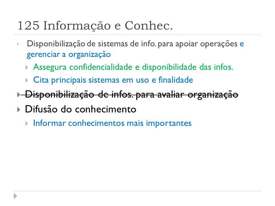 125 Informação e Conhec. Disponibilização de sistemas de info. para apoiar operações e gerenciar a organização  Assegura confidencialidade e disponib