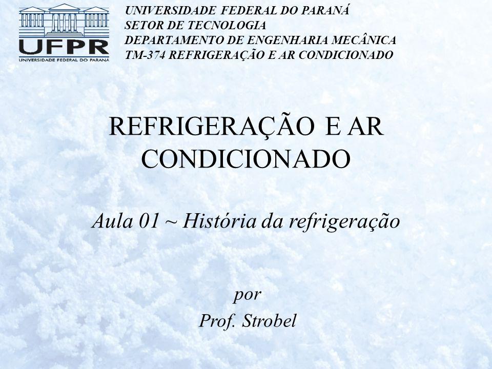 Refrigeração Artificial As primeiras tentativas de refrigeração artificial: – Em 1755, o professor escocês William Cullen produziu uma pequena quantidade de gelo pela evaporação de éter submetido à vácuo.