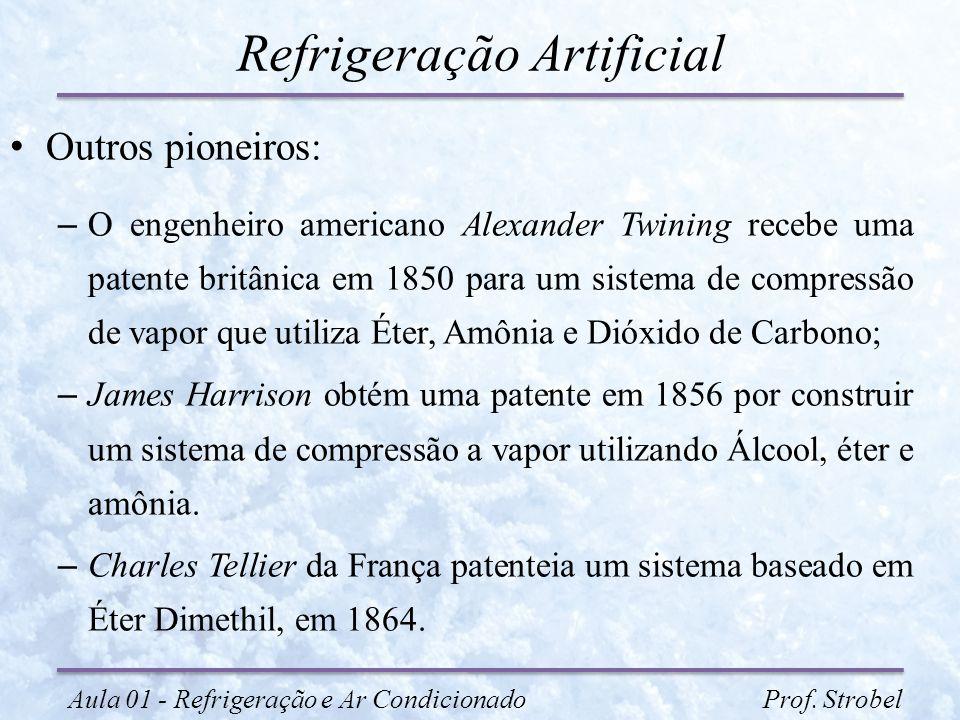 Refrigeração Artificial Outros pioneiros: – O engenheiro americano Alexander Twining recebe uma patente britânica em 1850 para um sistema de compressã