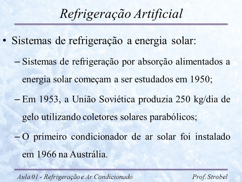 Refrigeração Artificial Sistemas de refrigeração a energia solar: – Sistemas de refrigeração por absorção alimentados a energia solar começam a ser es