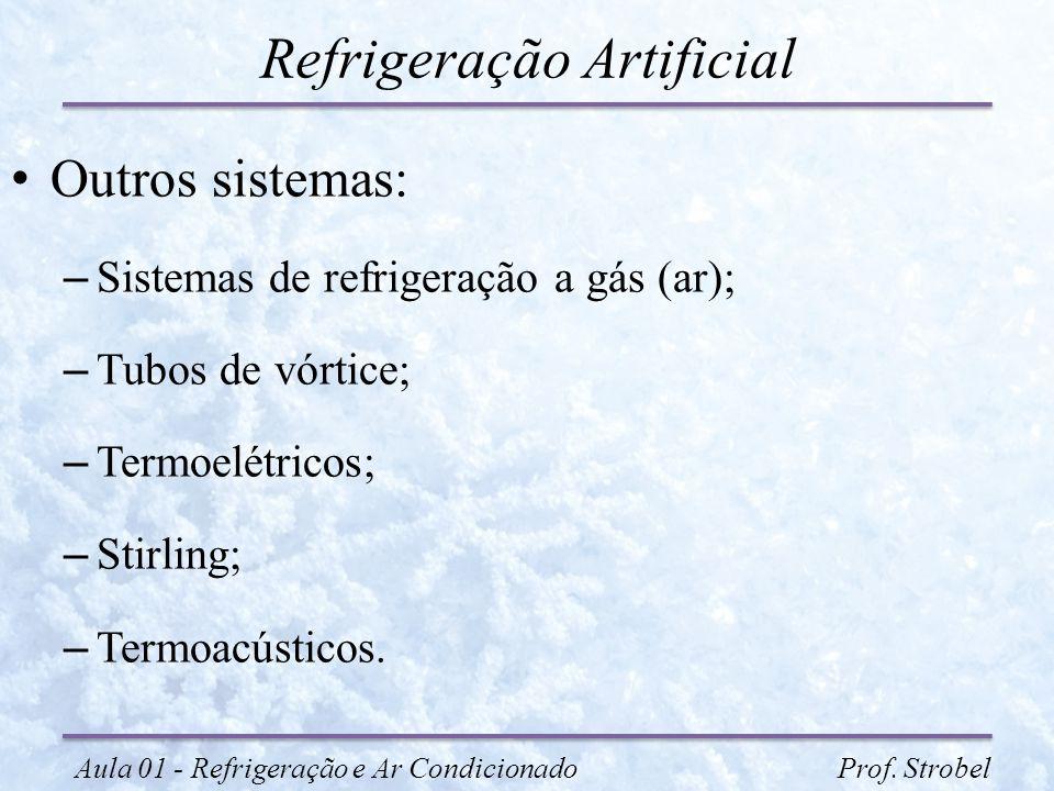 Refrigeração Artificial Outros sistemas: – Sistemas de refrigeração a gás (ar); – Tubos de vórtice; – Termoelétricos; – Stirling; – Termoacústicos. Au