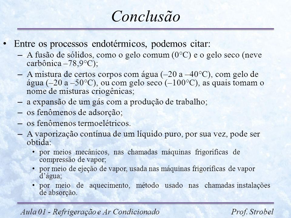 Conclusão Entre os processos endotérmicos, podemos citar: – A fusão de sólidos, como o gelo comum (0°C) e o gelo seco (neve carbônica –78,9°C); – A mi