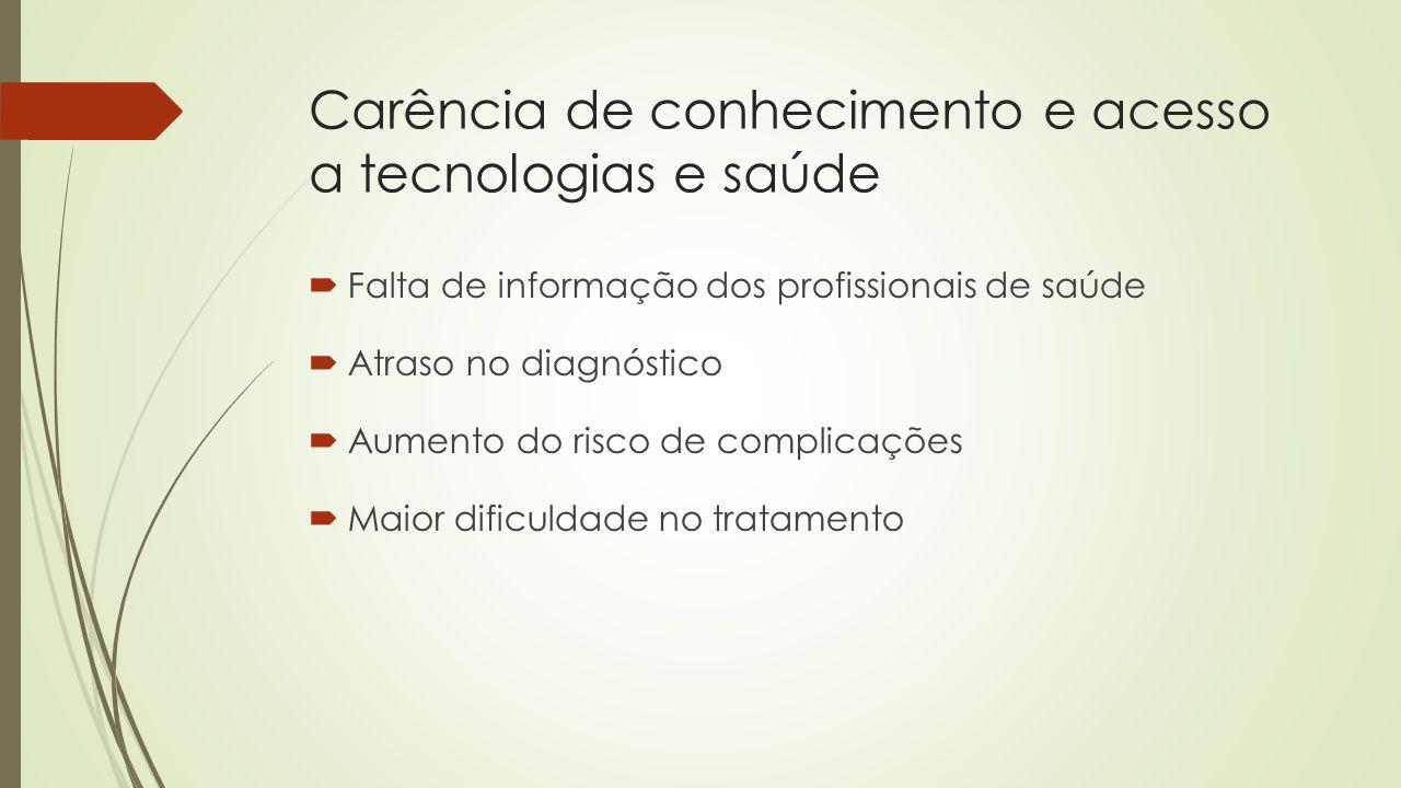 Carência de conhecimento e acesso a tecnologias e saúde  Falta de informação dos profissionais de saúde  Atraso no diagnóstico  Aumento do risco de complicações  Maior dificuldade no tratamento