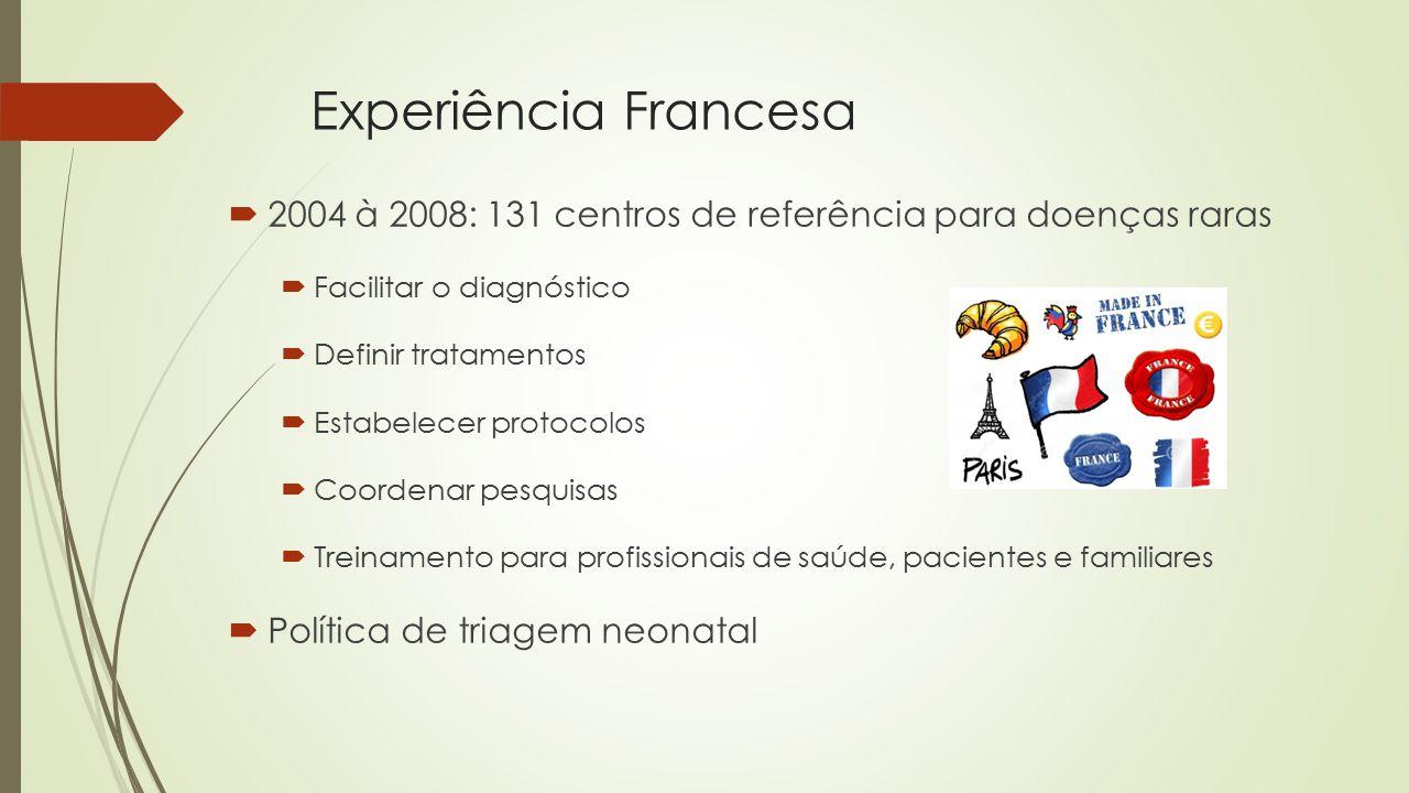 Experiência Francesa  2004 à 2008: 131 centros de referência para doenças raras  Facilitar o diagnóstico  Definir tratamentos  Estabelecer protocolos  Coordenar pesquisas  Treinamento para profissionais de saúde, pacientes e familiares  Política de triagem neonatal