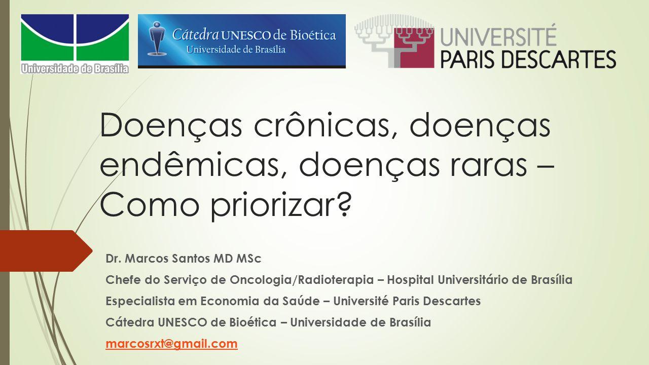 Doenças crônicas, doenças endêmicas, doenças raras – Como priorizar? Dr. Marcos Santos MD MSc Chefe do Serviço de Oncologia/Radioterapia – Hospital Un