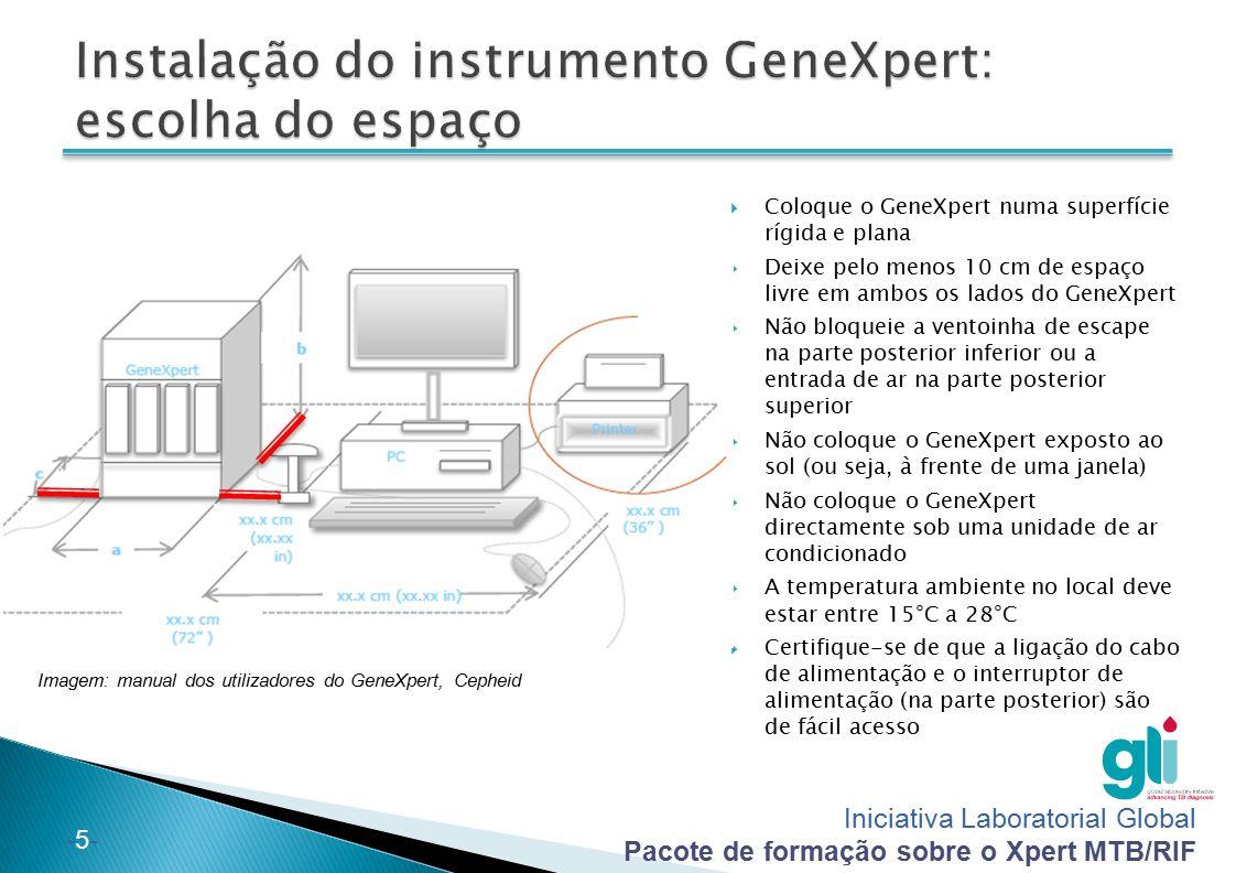 Iniciativa Laboratorial Global Pacote de formação sobre o Xpert MTB/RIF -5--5-  Coloque o GeneXpert numa superfície rígida e plana  Deixe pelo menos