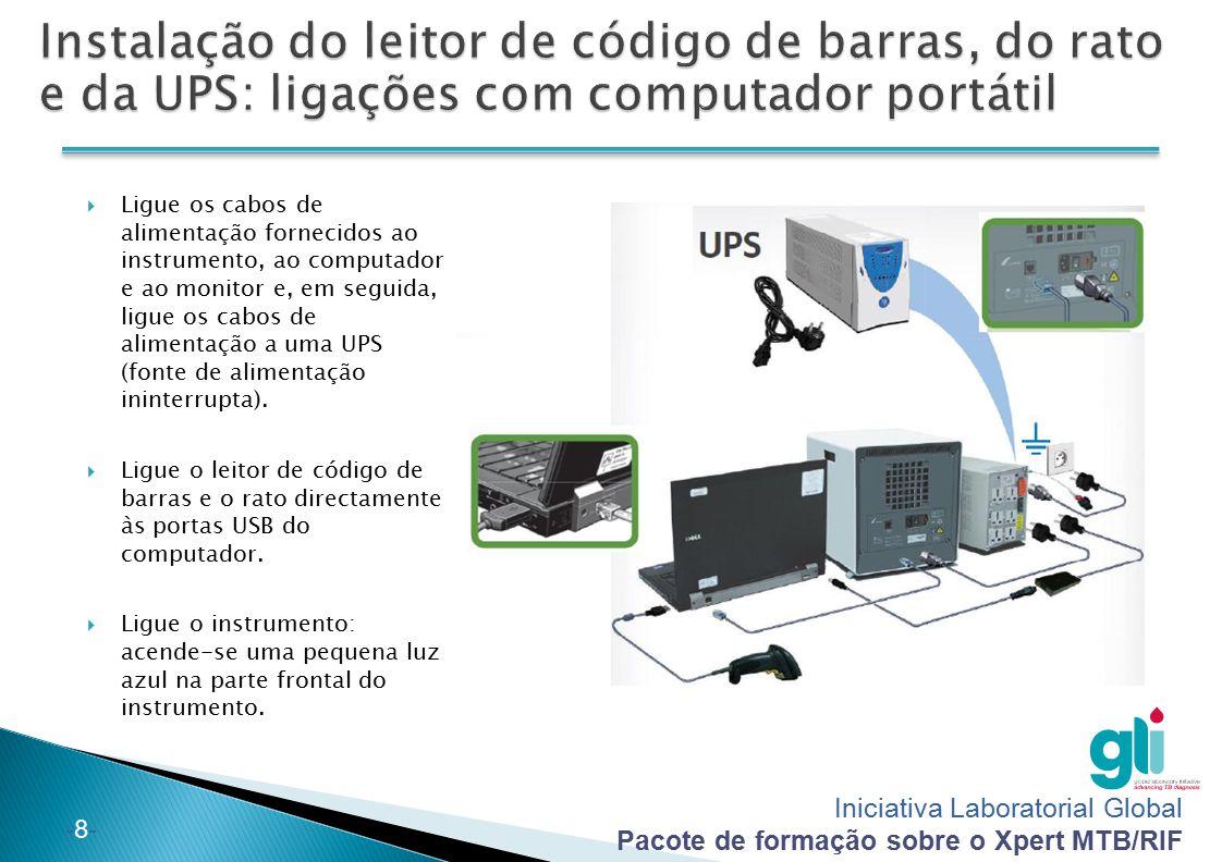 Iniciativa Laboratorial Global Pacote de formação sobre o Xpert MTB/RIF -8--8-  Ligue os cabos de alimentação fornecidos ao instrumento, ao computado