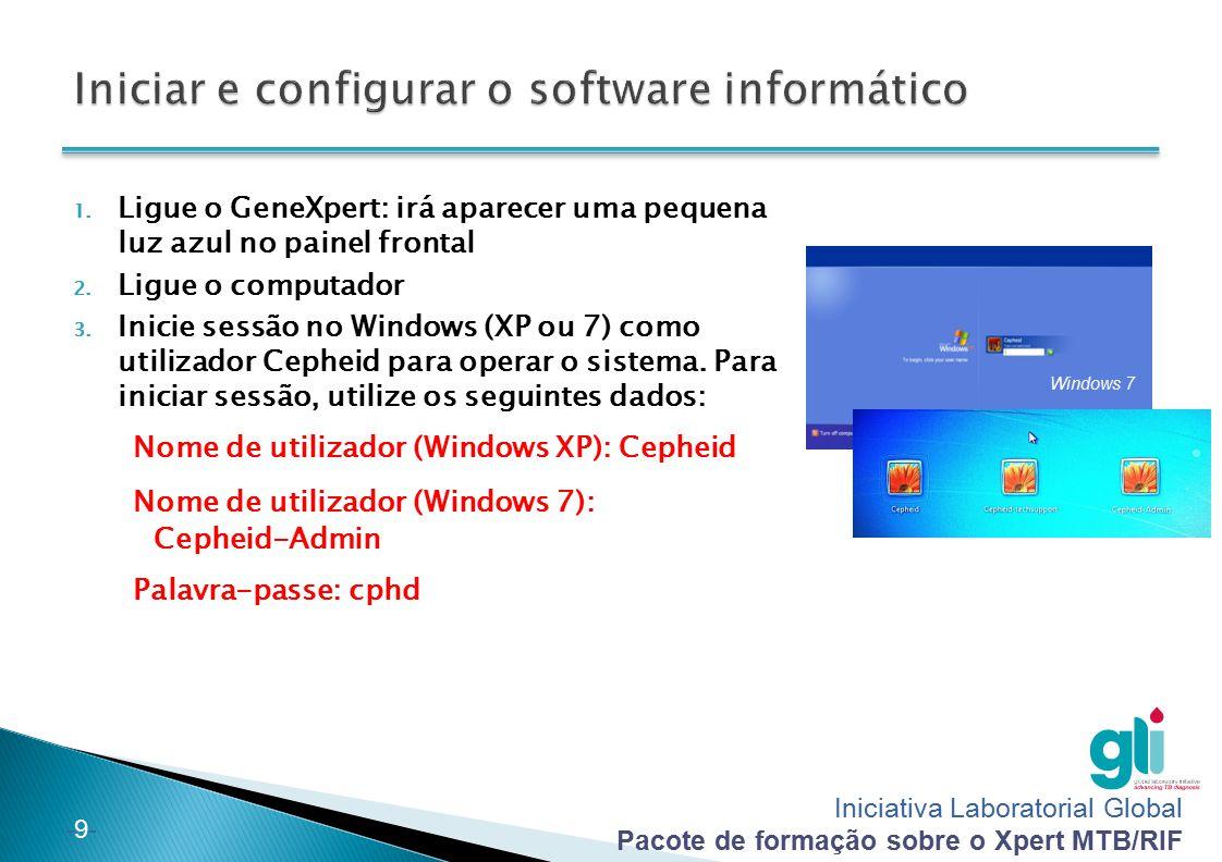 Iniciativa Laboratorial Global Pacote de formação sobre o Xpert MTB/RIF -20- Crie um relatório no fim da instalação: 1) Clique em Relatórios e, em seguida, em Qualificação da instalação 2) Irá aparecer um ficheiro PDF: guarde-o no computador e imprima uma cópia 3) O supervisor assina o relatório e envia uma cópia para a Cepheid: training@cepheidhbdc.com training@cepheidhbdc.com NOTA IMPORTANTE: O relatório de qualificação da instalação é necessário para calibração e garantia da máquina: é necessário enviá-lo directamente para a Cepheid após a instalação.