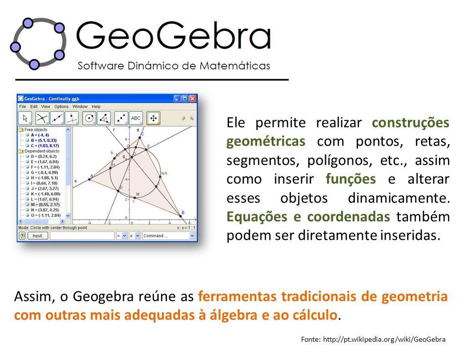 Ele permite realizar construções geométricas com pontos, retas, segmentos, polígonos, etc., assim como inserir funções e alterar esses objetos dinamic