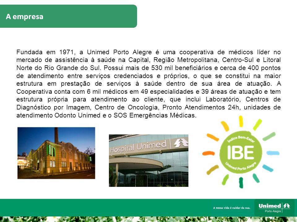 A empresa Fundada em 1971, a Unimed Porto Alegre é uma cooperativa de médicos líder no mercado de assistência à saúde na Capital, Região Metropolitana