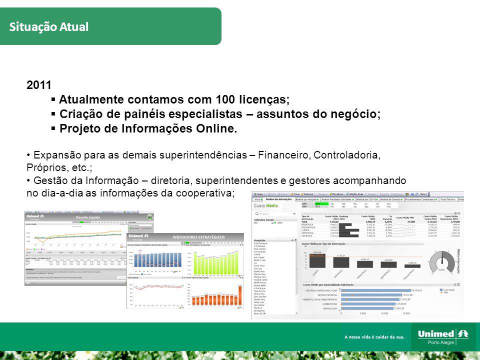 Situação Atual 2011  Atualmente contamos com 100 licenças;  Criação de painéis especialistas – assuntos do negócio;  Projeto de Informações Online.