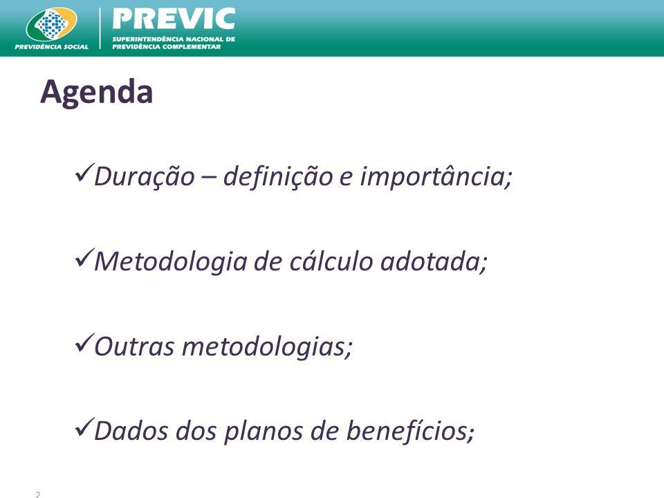 2 Agenda Duração – definição e importância; Metodologia de cálculo adotada; Outras metodologias; Dados dos planos de benefícios ;