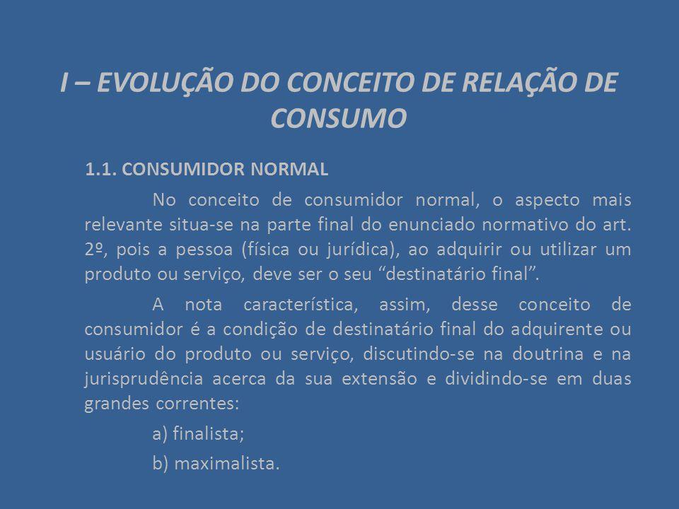 I – EVOLUÇÃO DO CONCEITO DE RELAÇÃO DE CONSUMO 1.1. CONSUMIDOR NORMAL No conceito de consumidor normal, o aspecto mais relevante situa-se na parte fin