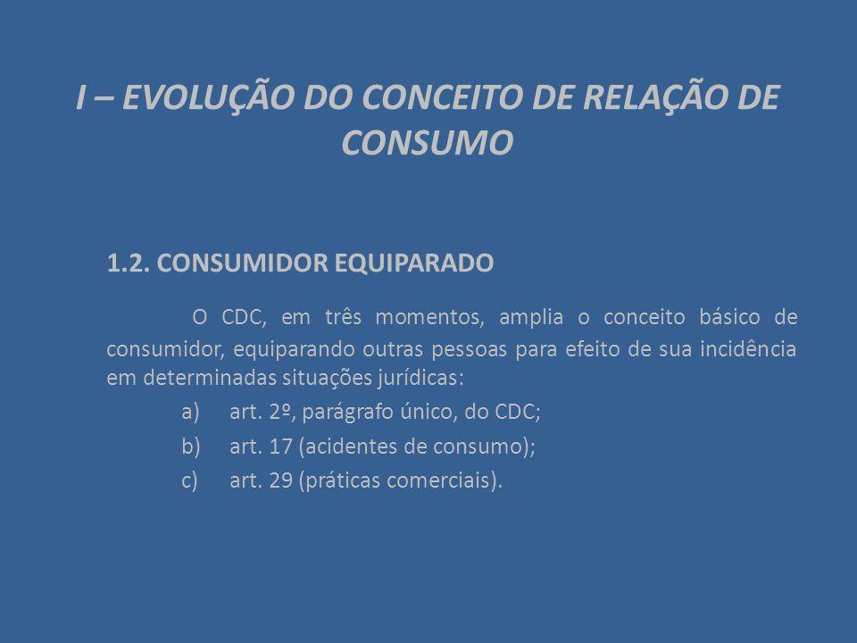 I – EVOLUÇÃO DO CONCEITO DE RELAÇÃO DE CONSUMO 1.2. CONSUMIDOR EQUIPARADO O CDC, em três momentos, amplia o conceito básico de consumidor, equiparando