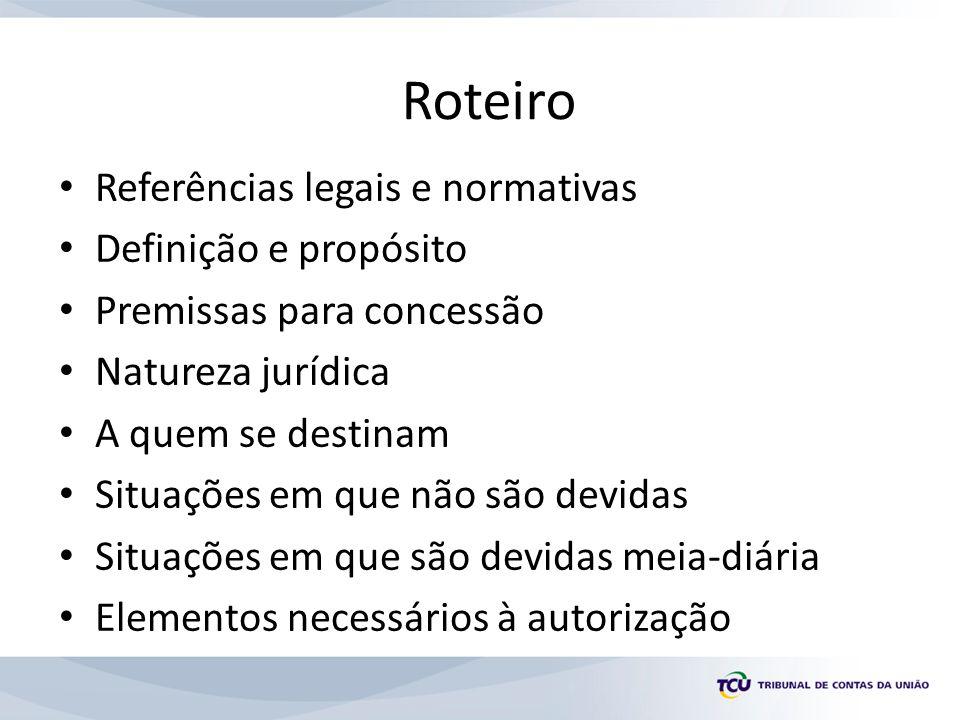 Roteiro Referências legais e normativas Definição e propósito Premissas para concessão Natureza jurídica A quem se destinam Situações em que não são d