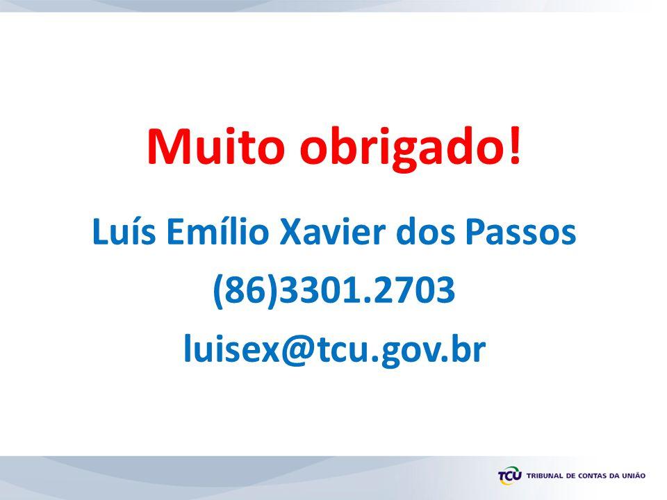 Muito obrigado! Luís Emílio Xavier dos Passos (86)3301.2703 luisex@tcu.gov.br