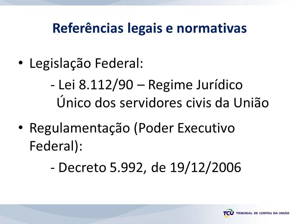 Referências legais e normativas Legislação Federal: - Lei 8.112/90 – Regime Jurídico Único dos servidores civis da União Regulamentação (Poder Executi