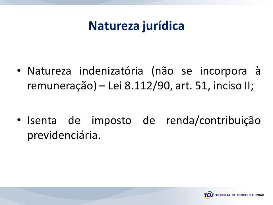 Natureza indenizatória (não se incorpora à remuneração) – Lei 8.112/90, art. 51, inciso II; Isenta de imposto de renda/contribuição previdenciária. Na