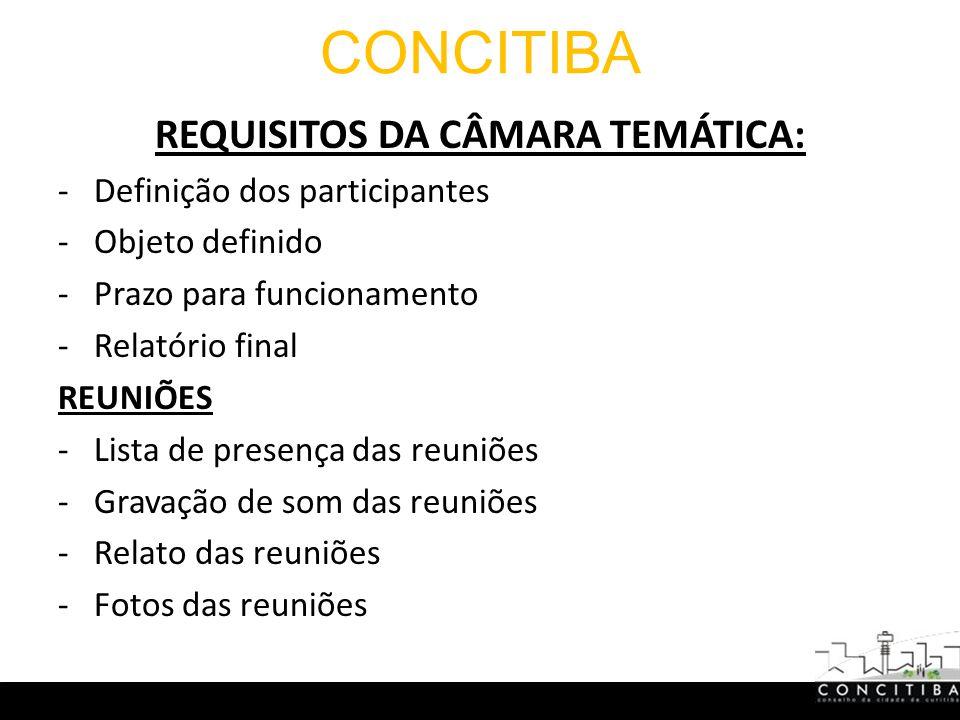 CONCITIBA REQUISITOS DA CÂMARA TEMÁTICA: -Definição dos participantes -Objeto definido -Prazo para funcionamento -Relatório final REUNIÕES -Lista de presença das reuniões -Gravação de som das reuniões -Relato das reuniões -Fotos das reuniões