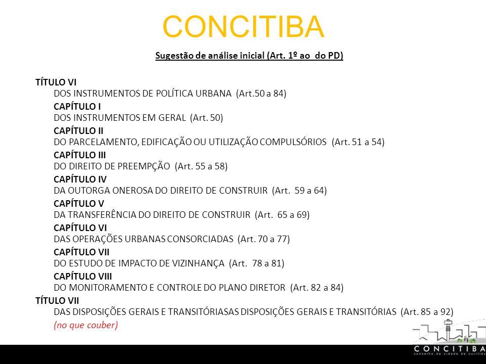 CONCITIBA Sugestão de análise inicial (Art.