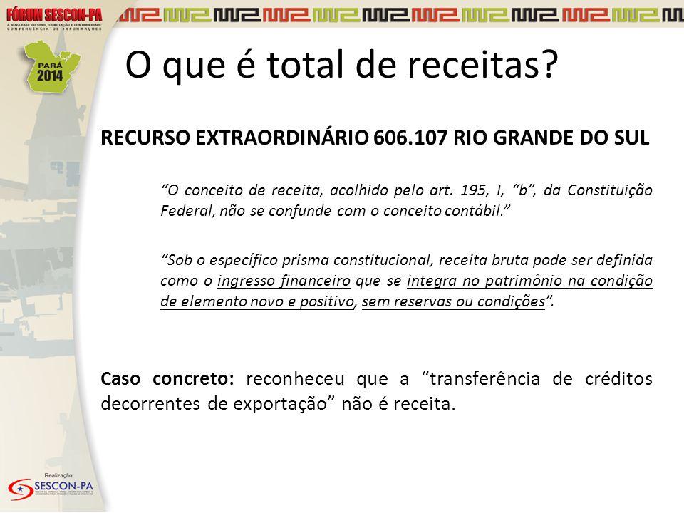 """RECURSO EXTRAORDINÁRIO 606.107 RIO GRANDE DO SUL """"O conceito de receita, acolhido pelo art. 195, I, """"b"""", da Constituição Federal, não se confunde com"""