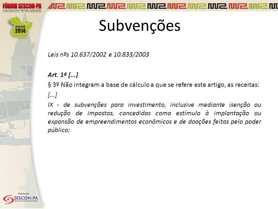 Leis nºs 10.637/2002 e 10.833/2003 Art. 1º [...] § 3º Não integram a base de cálculo a que se refere este artigo, as receitas: [...] IX - de subvençõe
