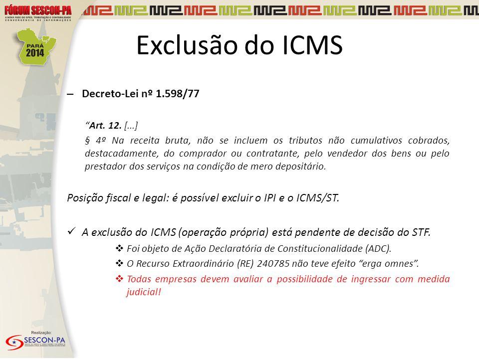 """Exclusão do ICMS – Decreto-Lei nº 1.598/77 """"Art. 12. [...] § 4º Na receita bruta, não se incluem os tributos não cumulativos cobrados, destacadamente,"""