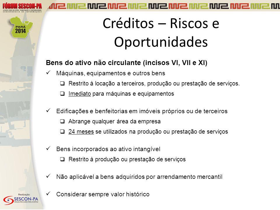 Créditos – Riscos e Oportunidades Bens do ativo não circulante (incisos VI, VII e XI) Máquinas, equipamentos e outros bens  Restrito à locação a terc