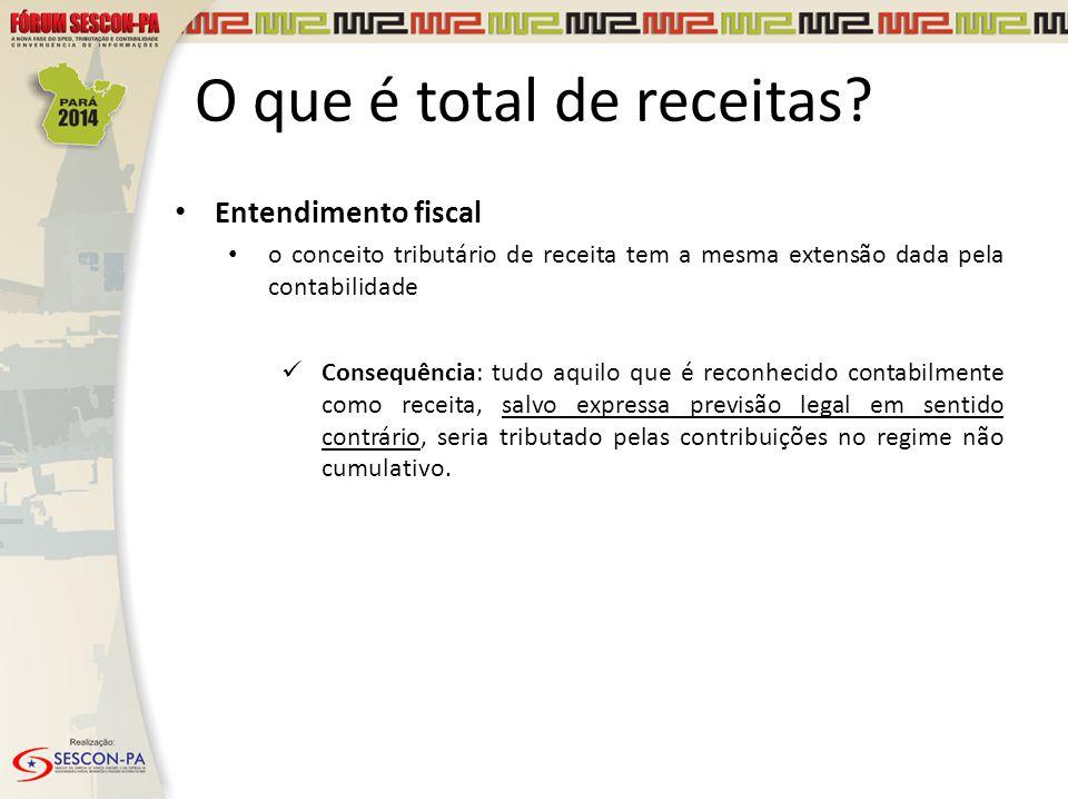 O que é total de receitas? Entendimento fiscal o conceito tributário de receita tem a mesma extensão dada pela contabilidade Consequência: tudo aquilo