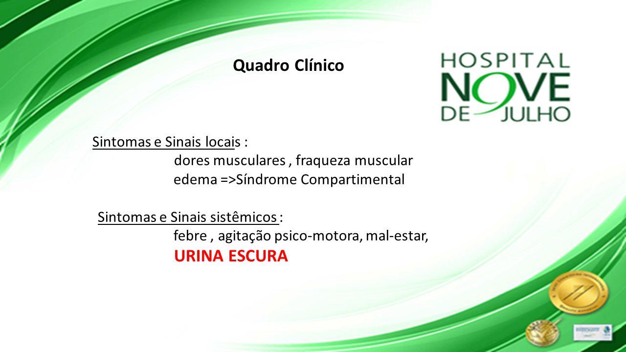 Sintomas e Sinais locais : dores musculares, fraqueza muscular edema =>Síndrome Compartimental Sintomas e Sinais sistêmicos : febre, agitação psico-mo