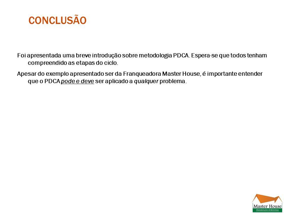 CONCLUSÃO Foi apresentada uma breve introdução sobre metodologia PDCA.