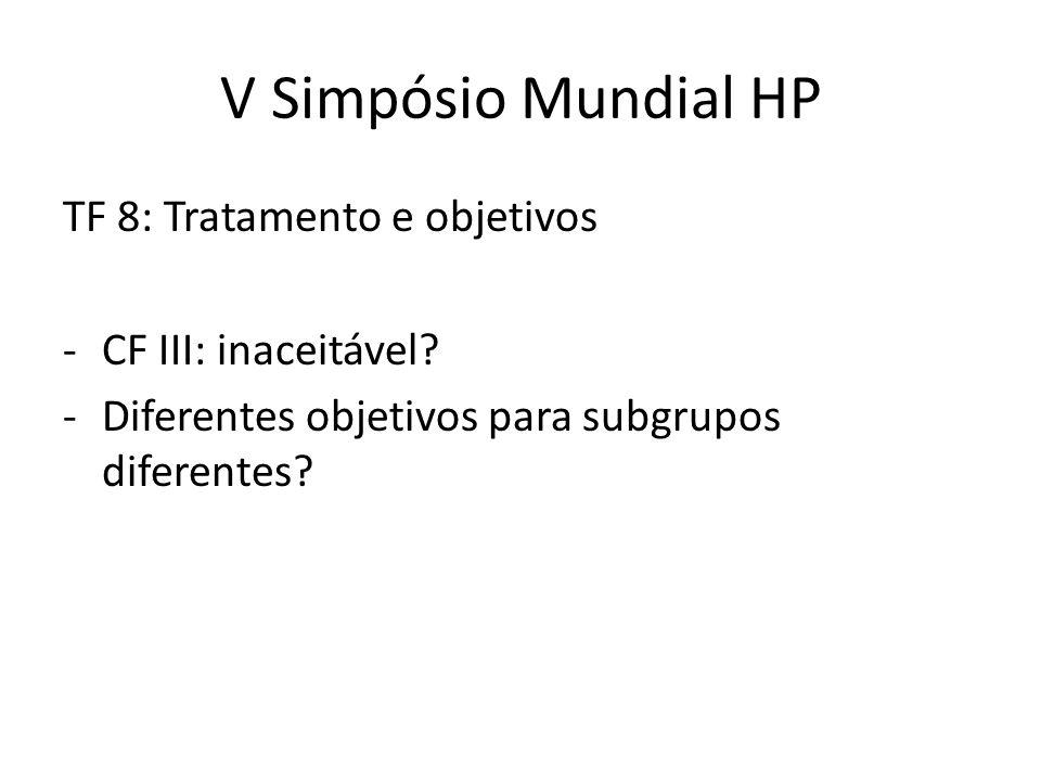 V Simpósio Mundial HP TF 8: Tratamento e objetivos -CF III: inaceitável? -Diferentes objetivos para subgrupos diferentes?