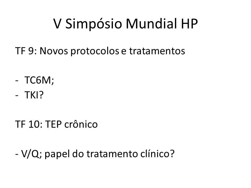 V Simpósio Mundial HP TF 9: Novos protocolos e tratamentos -TC6M; -TKI? TF 10: TEP crônico - V/Q; papel do tratamento clínico?