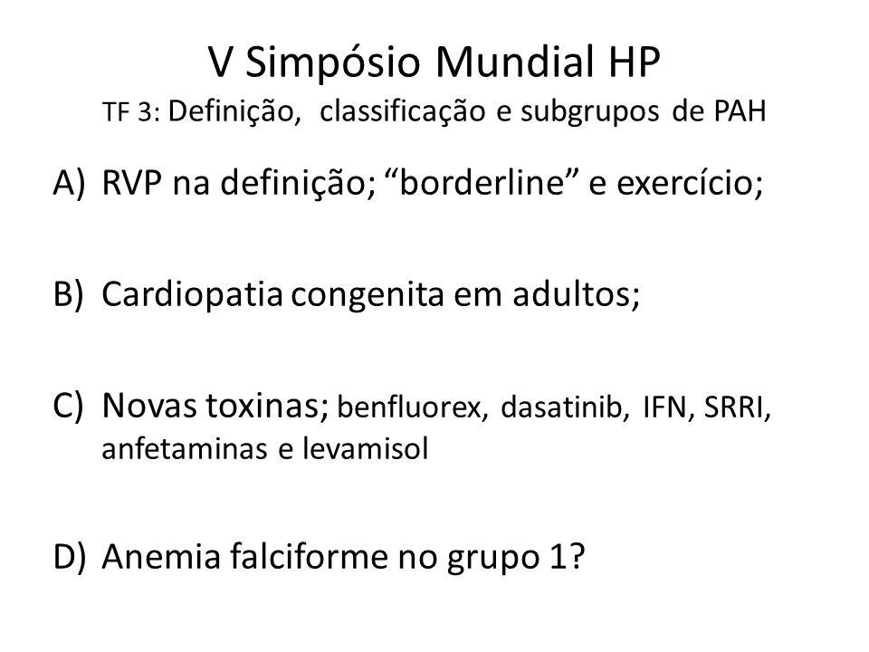 """V Simpósio Mundial HP TF 3: Definição, classificação e subgrupos de PAH A)RVP na definição; """"borderline"""" e exercício; B)Cardiopatia congenita em adult"""