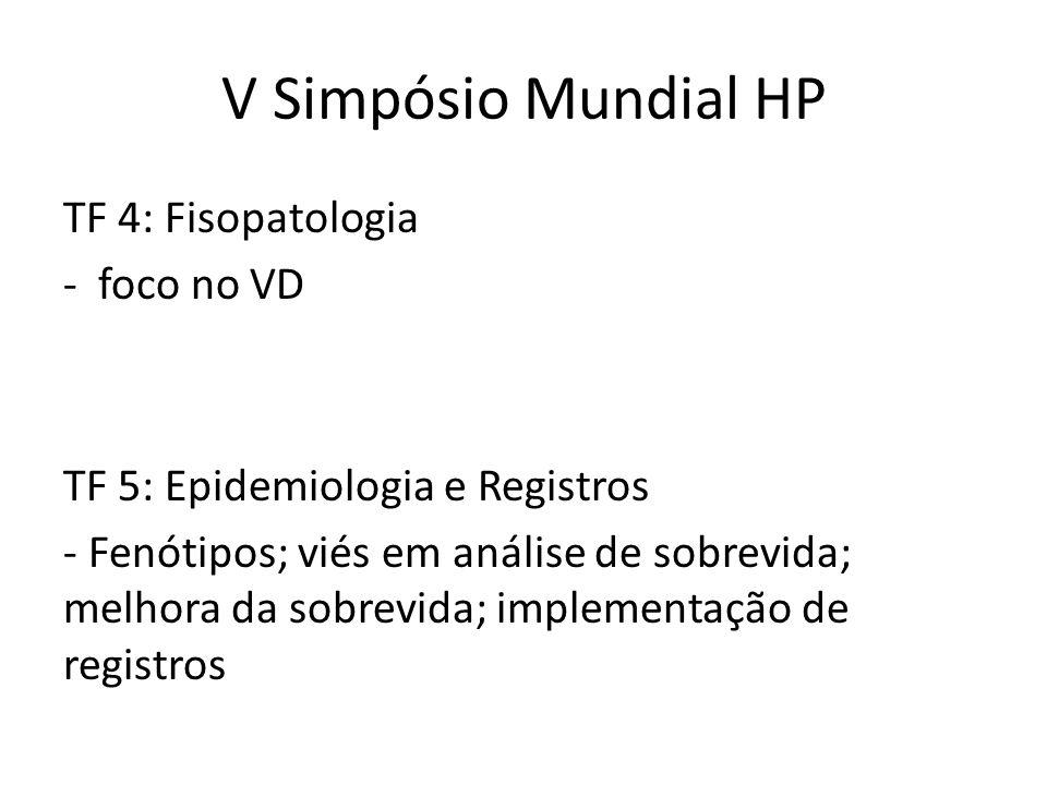 V Simpósio Mundial HP TF 4: Fisopatologia - foco no VD TF 5: Epidemiologia e Registros - Fenótipos; viés em análise de sobrevida; melhora da sobrevida